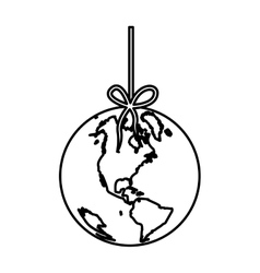 Monochrome silhouette with world hanging on rope vector
