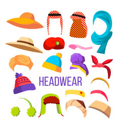 Multicultural and season headwear hat set vector