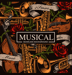 musical seamless background in tattoo style vector image