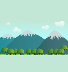 nature landscape scene forest and mountain vector image