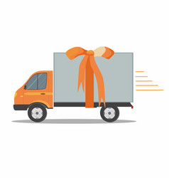 orange delivery van with ribbon vector image