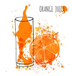 Orange juice splash hand draw watercolor vector