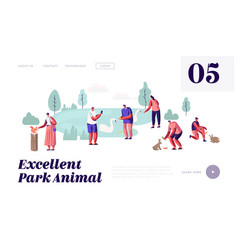 People spend time in animal park leisure vector
