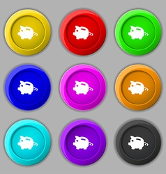 Piggy bank icon sign symbol on nine round vector image