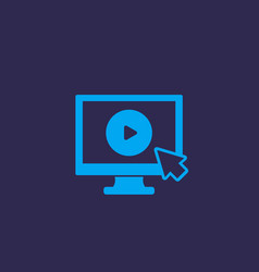 play video button on screen icon vector image