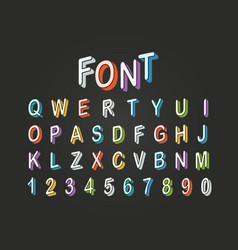 Pop art style 3d color font clipart letters vector