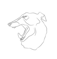 Portrait of a dog that yawns lines vector