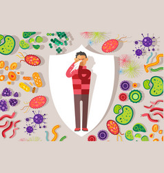 Protection against germs and viruses sick people vector