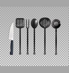 realistic cutlery set vector image