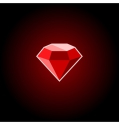 Red rugemstone icon on a black background vector