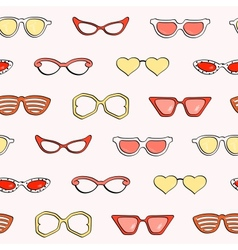 Seamless pattern fashion isolated sunglasses set vector