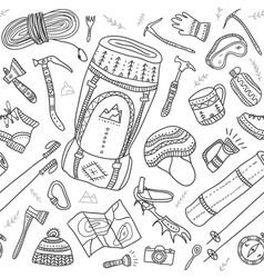 Seamless pattern of climbing equipment drawn in vector