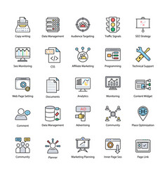 Search engine and optimization innovative icons vector
