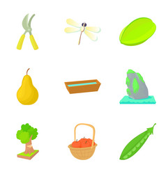 selection icons set cartoon style vector image
