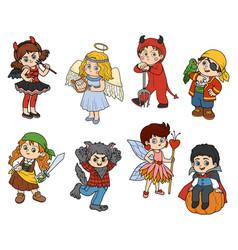 Set halloween children characters vector