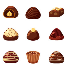 Set of colorful chocolate desserts and candies vector