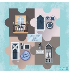 Set of four puzzles with windows vector image