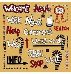 Set of hand draw lettering web design element vector image
