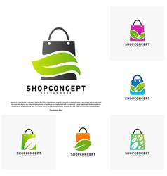 set of nature shop logo design concept shopping vector image
