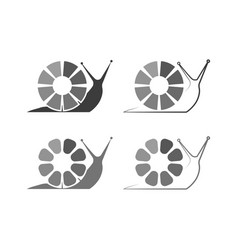 Set snail too slow loading icon in flat vector
