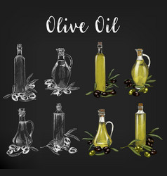 Sketches of glassware olive oil bottles vector