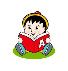 Small child with a book vector