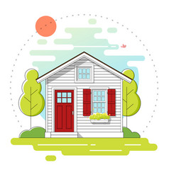 small house and landscape day scene background vector image