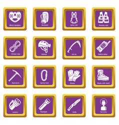 Speleology equipment icons set purple square vector