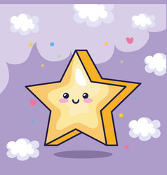 Star magic kawaii with cute decoration vector