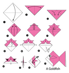 Step instructions how to make origami a goldfish vector