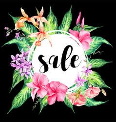 vintage floral tropical sale card vector image