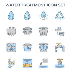 Water treatment plant and septic tank icon vector