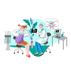 Woman in orthodontist office flat vector