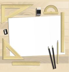 Workplace art board paper ruler protractor vector