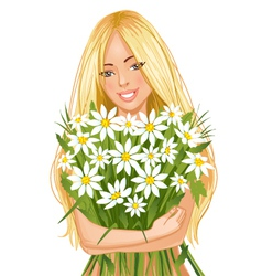 Young beautiful blond woman with bunch of flowers vector