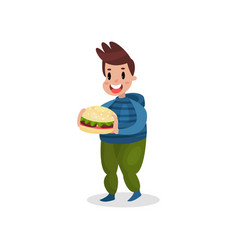 Young fat man holding giant burger harmful habit vector