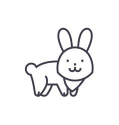 cute rabbit line icon sign vector image