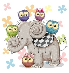 Elephant and Owls vector image vector image