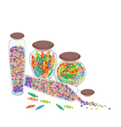 Four Bottles of Chocolate Candies and Hard Candies vector image