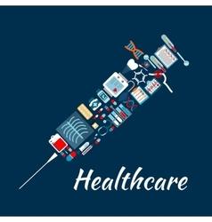 Medical examination icons creating syringe symbol vector image vector image