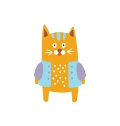 Red cat wearing jacket in autumn standing upright vector