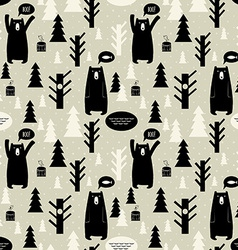 Seamless pattern with forest and bears background vector image vector image