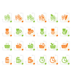 Stylized 24 business office and website icons vector