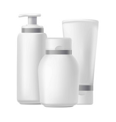 blank three beauty hygiene containers isolated on vector image