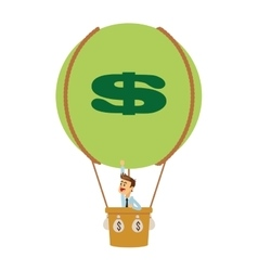 business man on hot air balloon with money icon vector image
