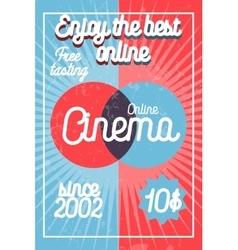 Color vintage online cinema banner vector image