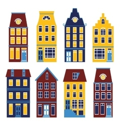 Cute houses set in vivid colors vector image