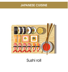 delicious fresh sushi rolls on tray from japanese vector image vector image