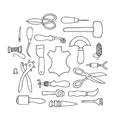 Hand drawn Leather working tools vector image