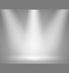 illuminated stage with spotlight on transparent vector image vector image